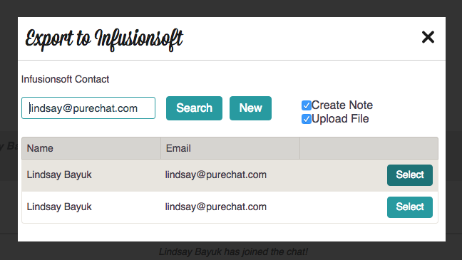 Create a new contact in Infusionsoft from Pure Chat