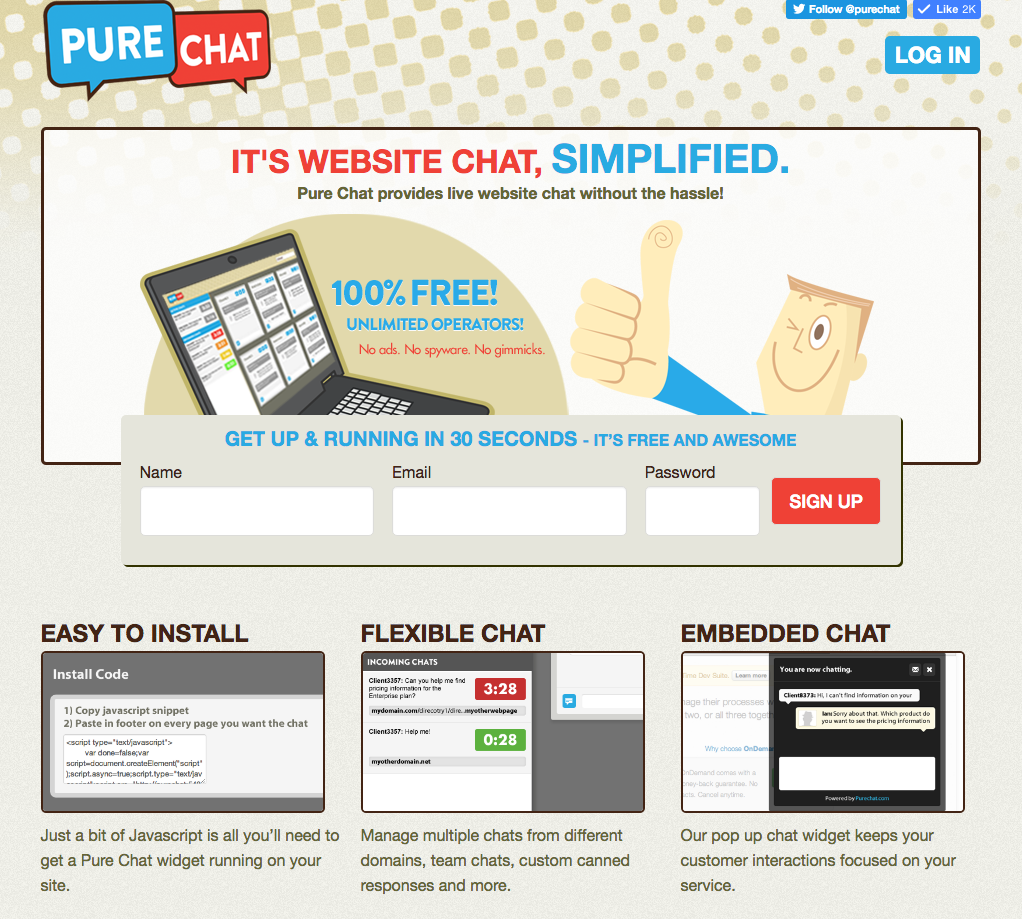 Pure Chat's first website